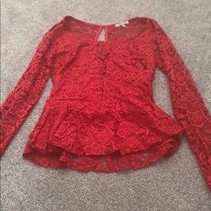 Charlotte Russe red dress shirt